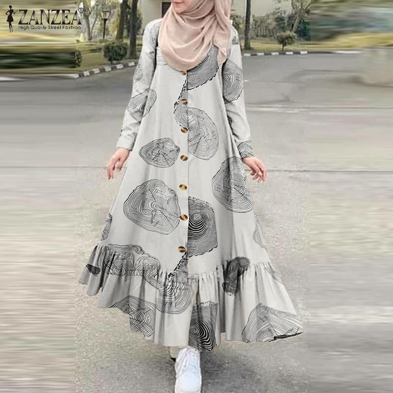 Vintage muçulmano hijab vestido feminino outono vestido de verão zanzea 2021 casual manga longa plissado vestidos botão feminino maxi robe S-5XL