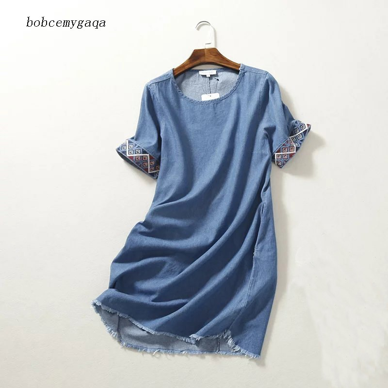Vestido vaquero bordado de verano para mujer, Mini, azul, cuello redondo, manga corta, recta, flecos, tela vaquera, vestido informal, Túnica