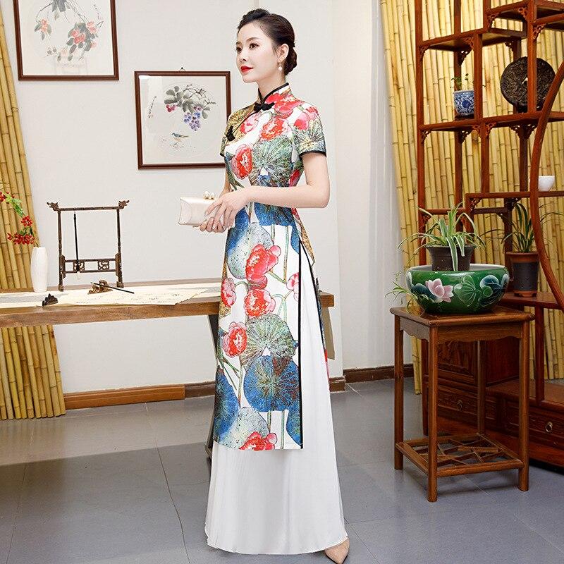 Blanco talla grande 4XL 5XL chino tradicional mujeres Aodai estampado flor Qipao Vintage Cheongsam novedad vestido Formal chino