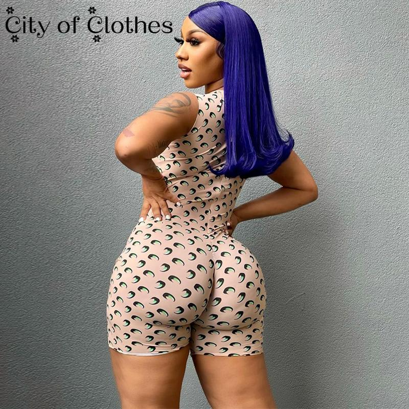 2021 Sleeveless O-Neck Print Bodycon Sexy Playsuit Summer Women Fashion Streetwear Outfits Romper Y2K Club Zipper Slim Playsuits women fashion boho o neck halter mini romper casual female playsuit floral print knotted design romper
