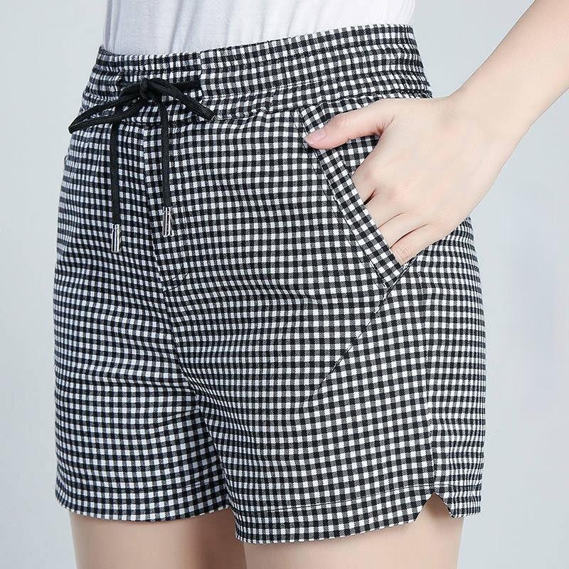 Летние хлопковые клетчатые шорты с эластичной резинкой на талии, узкие спортивные корейские Стиль женские штаны джинсовые шорты с высокой ...