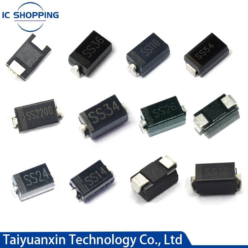 100PCS Schottky rectifier diode SS12 SS14 SS16 SS22 SS24 SS26 SS32 SS34 SS36 SS54 SS56 SS110 SS210 SB1100 1N5817 SR360 DO-214AC 10pcs sr5100 schottky diode