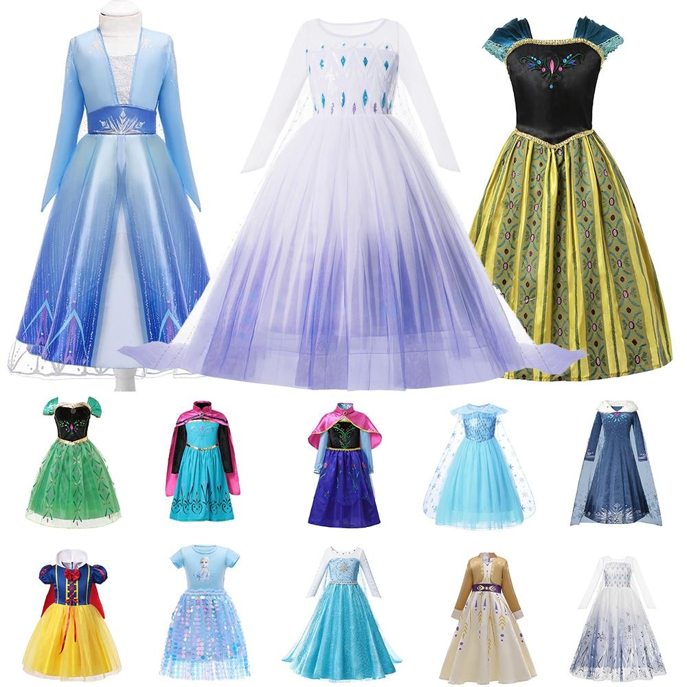 disney frozen 2 costume for girls princess elsa dress kids snow queen cosplay carnival clothing anna elsa dress up fancy clothes