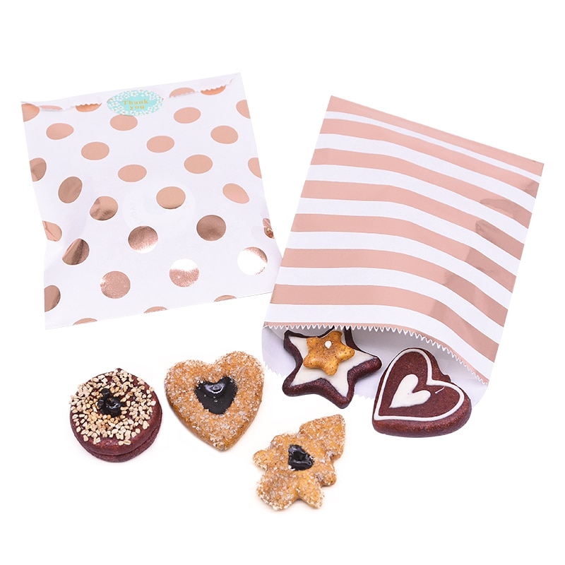 Купить с кэшбэком 25pcs/pack 18cm Gift Bags Paper Pouch Rose Gold Paper Food Safe Bags Birthday Wedding Party Favors Gift Bags Packing for Guests