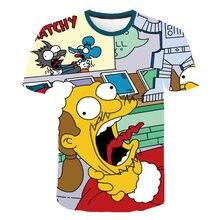 Yeni bahar T-shirt Simpson baskı 3D erkek kadın T-shirt rahat Harajuku karikatür komik tişört asya si'ze S-5XL