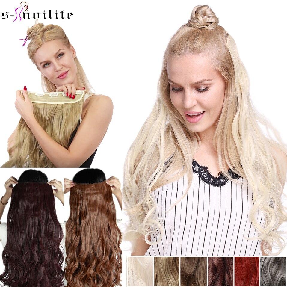 SNOILITE 23 pulgadas de largo ondulado Clip en extensión de cabello sintético 5 Clips en una pieza pelo negro marrón Ombre falso postizo para mujeres