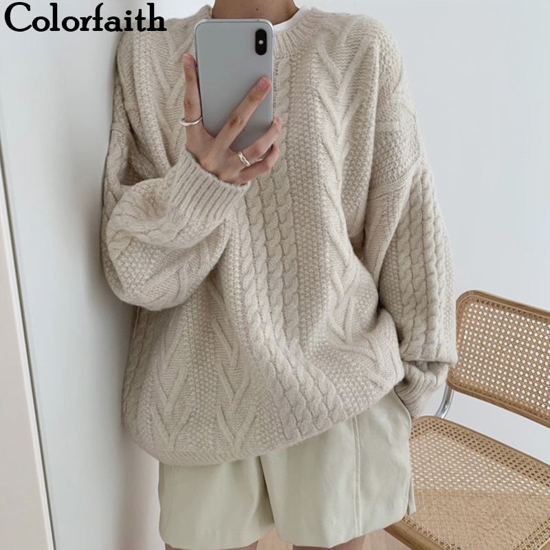 Colorfaith 2021 New Winter Spring Women Sweaters Pullovers Minimalist Knitting Elegant Casual Loose Ladies Vintage Tops SW1161