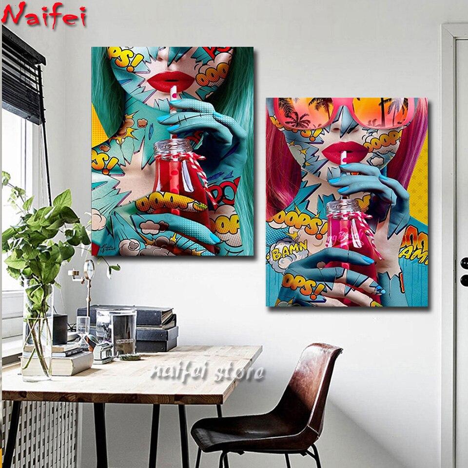 Graffiti chica genial pintura de diamante mosaico moderno señora arte para pared portarretrato 5d diamante bordado decoración de pared para la sala de estar