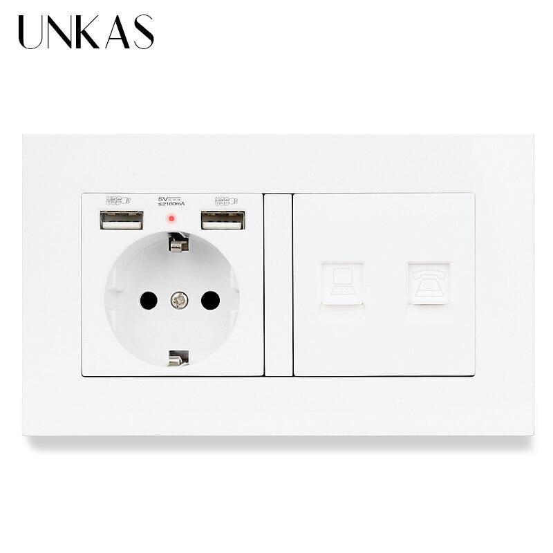 Panel de plástico UNKAS, toma de corriente estándar de la UE, USB Dual + RJ45, conector de ordenador de Internet y toma de corriente de puerto telefónico RJ12