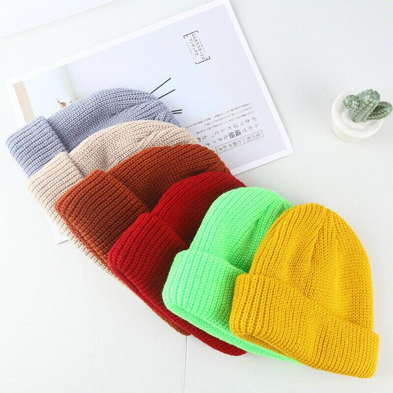 Модная мужская и женская вязаная Лыжная Шапка в стиле хип-хоп, однотонная зимняя теплая шапка унисекс, шерстяная шапка