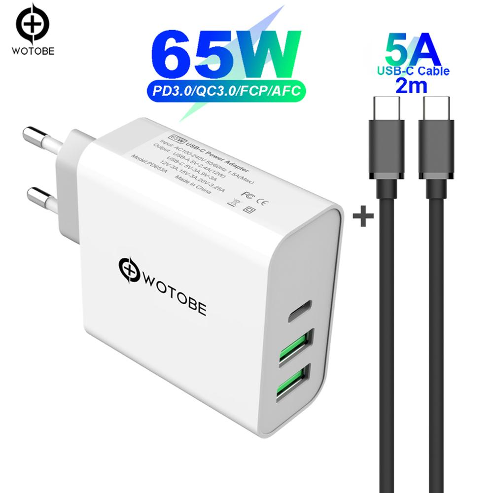 65 w TYPE-C USB-C adaptador de alimentação, 1 porta pd60w qc3.0 carregador para USB-C laptops macbook pro/ar ipad pro, 2 portas usb para s8/s10 iphone