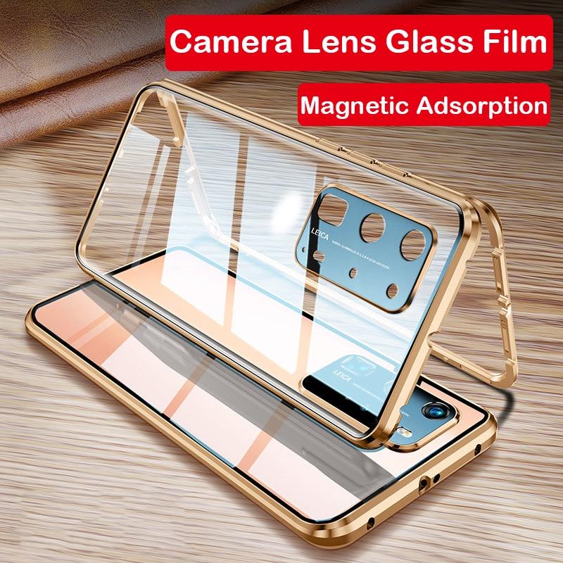 Funda de teléfono magnética para Huawei P40 Pro Mate 30 Mate 20x5G P30 P20 lente de cámara cristal Metal parachoques Honor X10 30S 9X 8X V30 funda