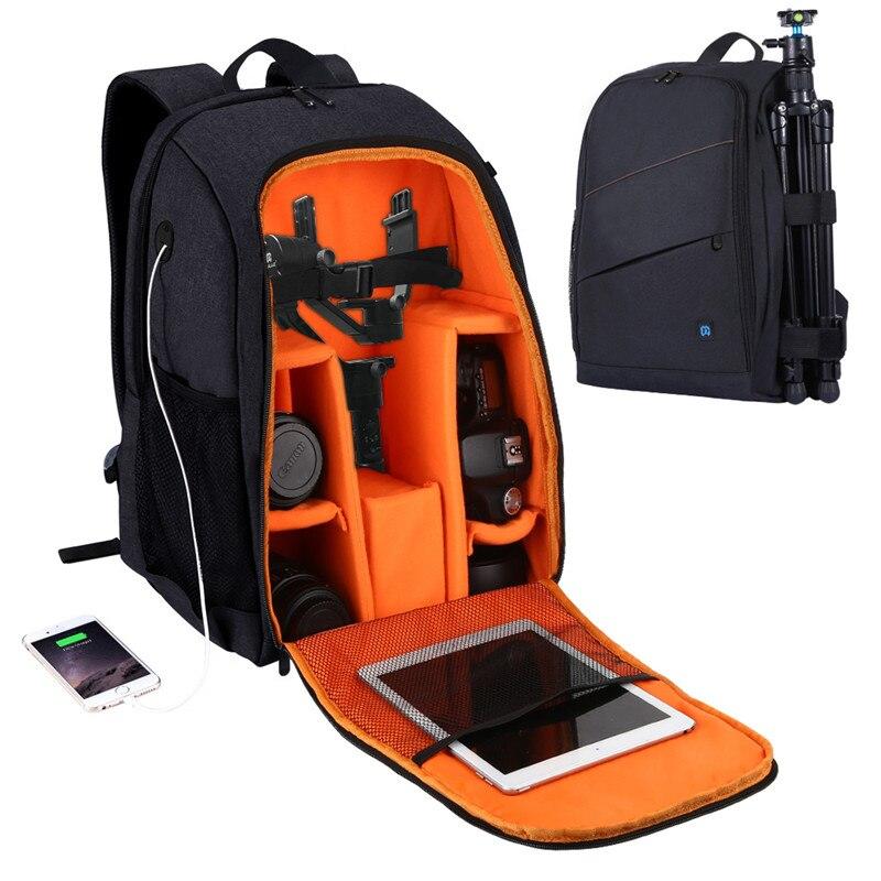 Bolsa para el exterior para cámara portátil impermeable a prueba de arañazos doble hombro mochila Cámara bolsa para DSLR Cámara lente trípode para linterna