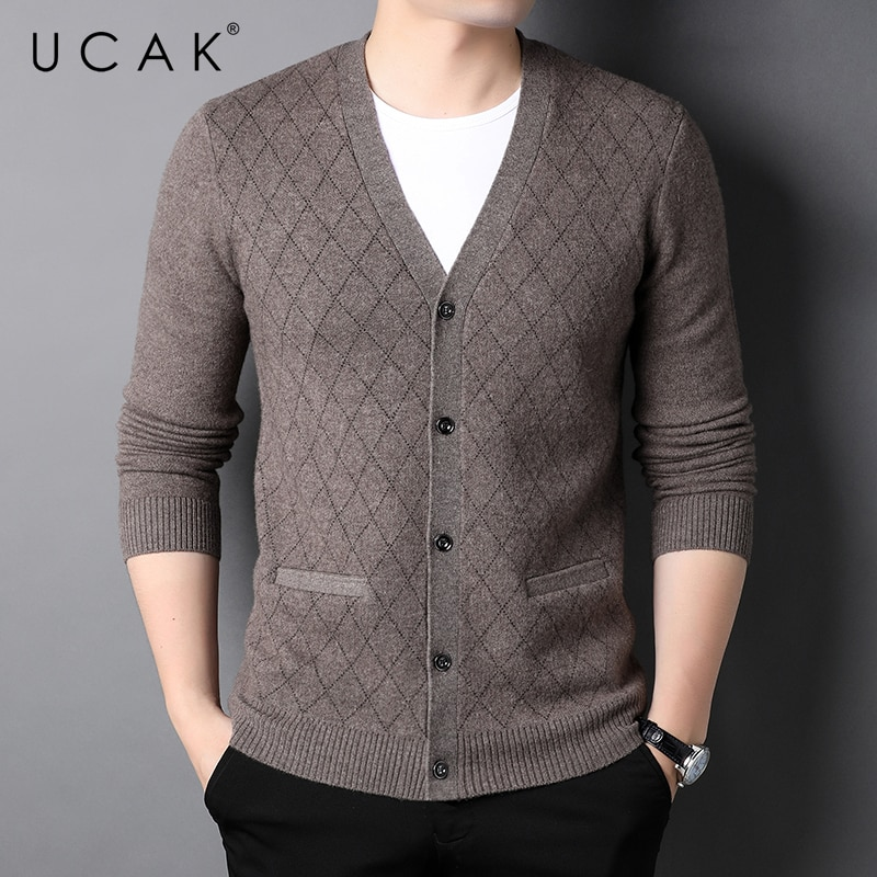 UCAK Brand Classic Casual Pure Wool Cardigans Men Sweatercoat Clothing Streetwear Solid Color Cardigan Male Pull Homme U1374