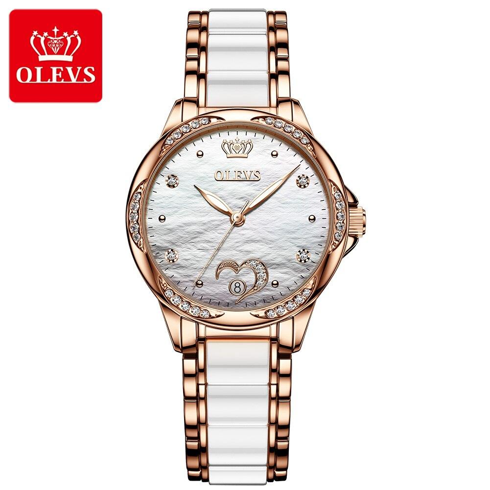 Relojes para mujer, relojes mecánicos automáticos para mujer, cerámica de acero inoxidable de marca de lujo, caja de regalo de gama alta, impermeable para nadar