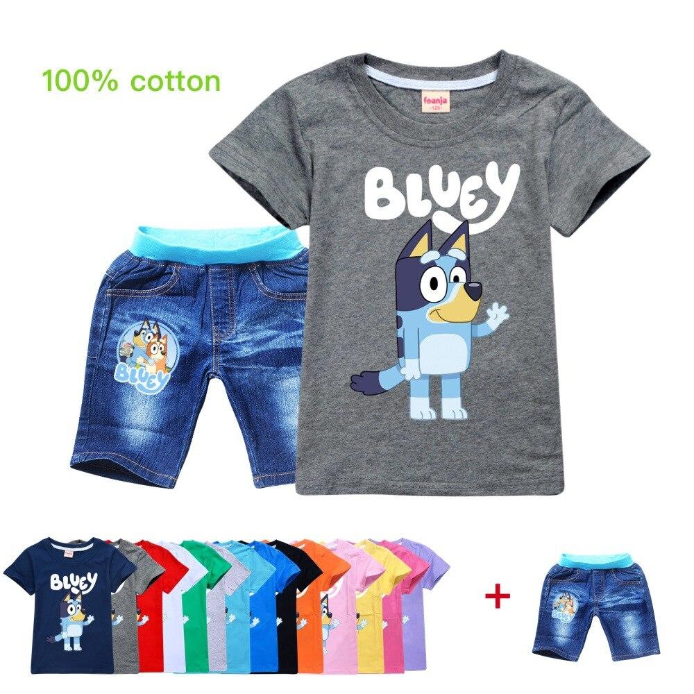 Ropa de verano para niña de 2 a 16 años, traje informal de algodón para niño pequeño, camiseta de manga corta, pantalones vaqueros Vaqueros, traje de 2 piezas