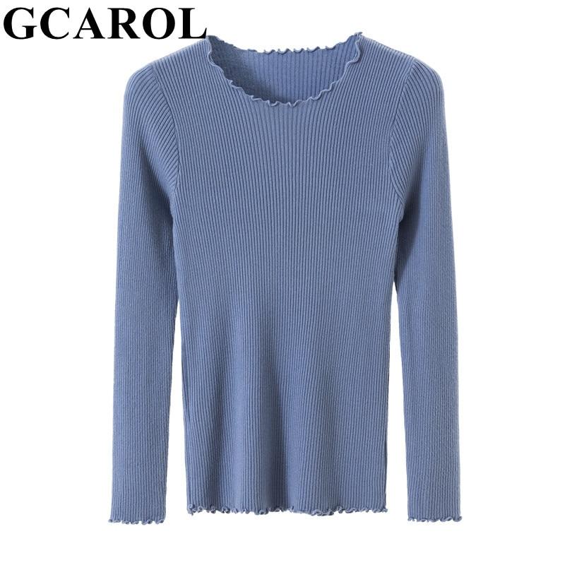 Gcarol feminino fungo borda design camisola estiramento outono inverno malha apertado para o corpo minimalismo diário malha pulôver malhas