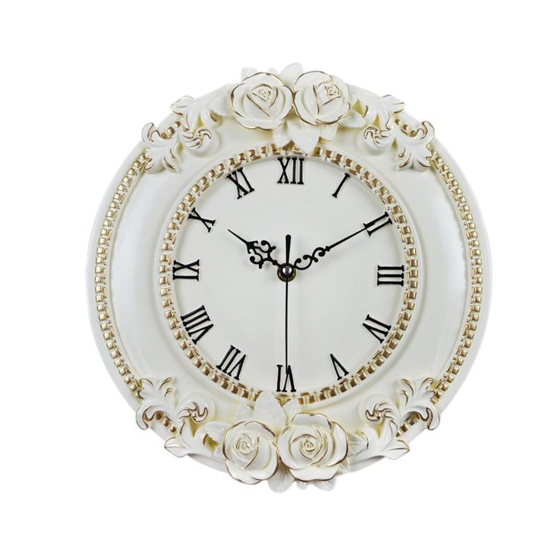 Reloj de pared Digital Decorativo Europeo de flor Rosa artesanal de resina creativa reloj de habitación silenciosa decoración de Hotel restaurante