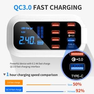 Image 3 - Зарядное устройство с 8 портами USB, быстрая зарядка 3,0, ЖК дисплей, зарядное устройство для телефонов Android, iPhone, быстрая зарядка для xiaomi, huawei, samsung