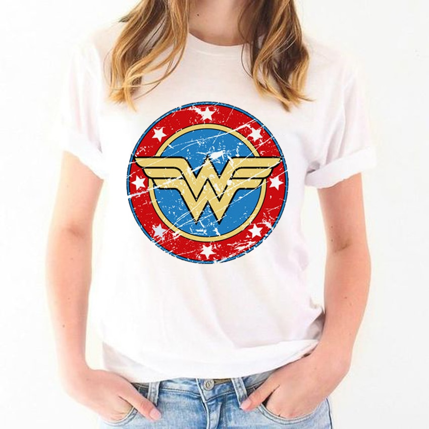 Verão 2019 camiseta anime mulher maravilha t camisa feminina feminista branco chemise femme camisetas gráficas