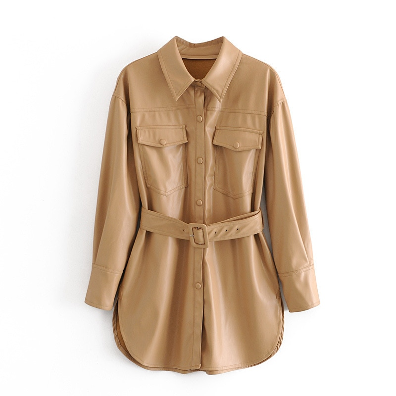 European and American Women's 2020 Autumn and Winter New Products Casual Belt Shirt Plus Color Faux Leather Jacket