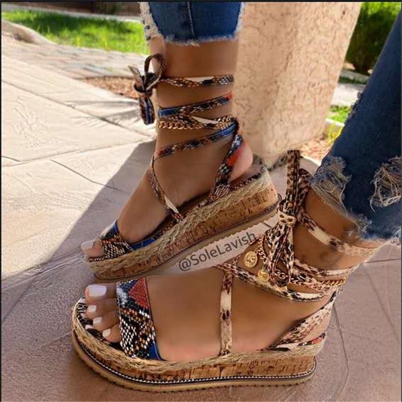 Verano De las mujeres serpiente sandalias De tacones De plataforma fiesta Zapatos De las señoras Zapatos De Mujer Cruz correa De tobillo De encaje Peep Toe 2020, moda De playa,