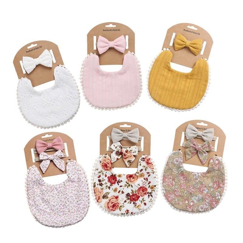 Let's Make 3Pcs/SetT Newborn Cotton Bib Blanket Bowknot Headband Baby Photography And Video Props Kids Rose Flower Printed Cloth