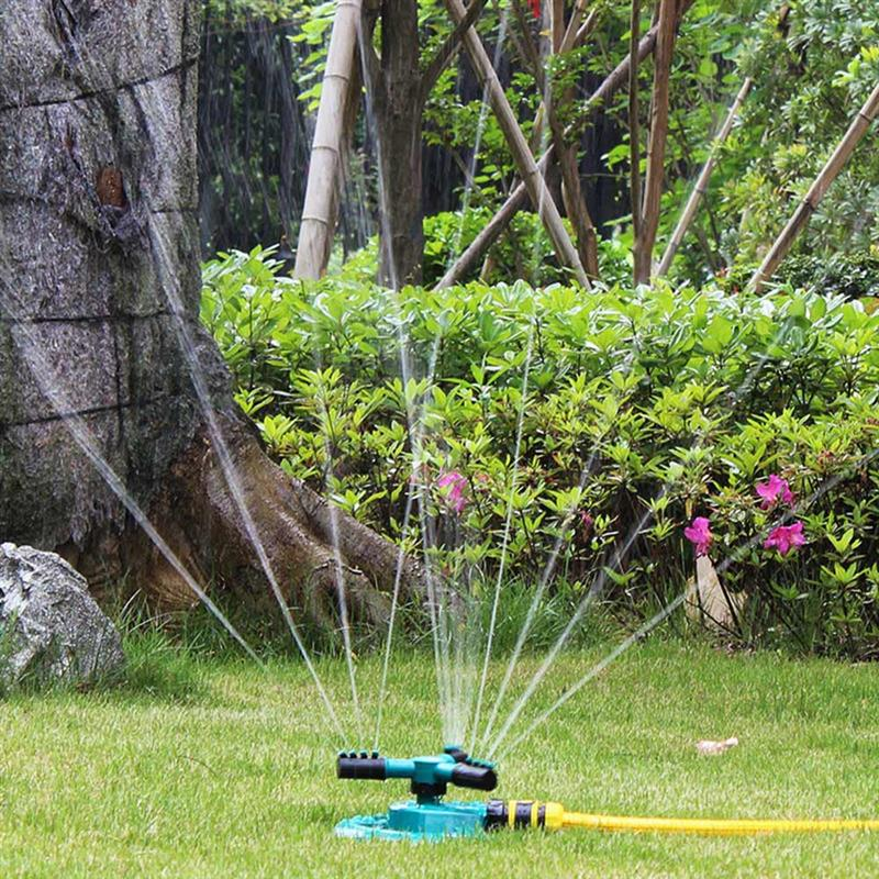 Sistema de riego automático de aspersores de jardín de 360 grados, aspersores de agua giratorios de tres brazos para césped, suministros de jardín