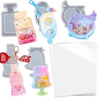 diy resin shaker molds perfume bottle cola mike tea dessert popsicle shape silicone mold trays with 5 seal films