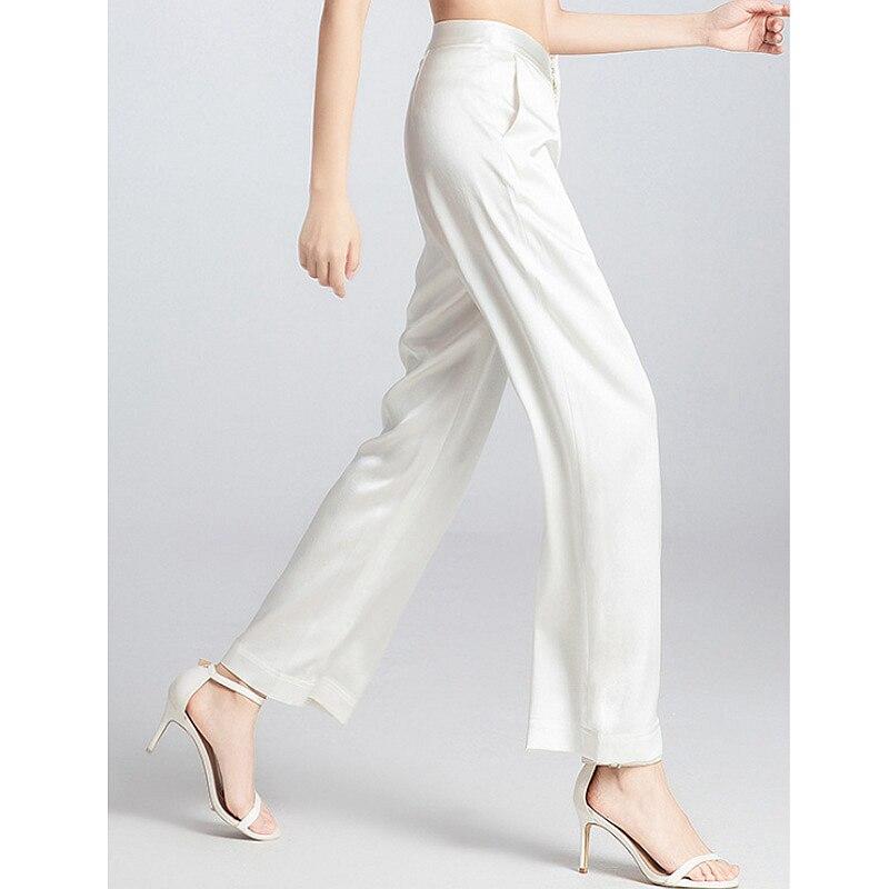 Pants women elegant design 100% silk straight mid-waist zipper pockets solid 3 colors ladies bottom summer new fashion