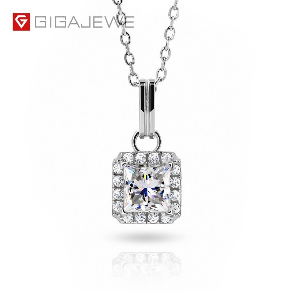 GIGAJEWE 1.2ct 6,0mm princesa 18K oro blanco plateado 925 Plata collar de molissanita diamante prueba pasado joyería mujer chica regalo