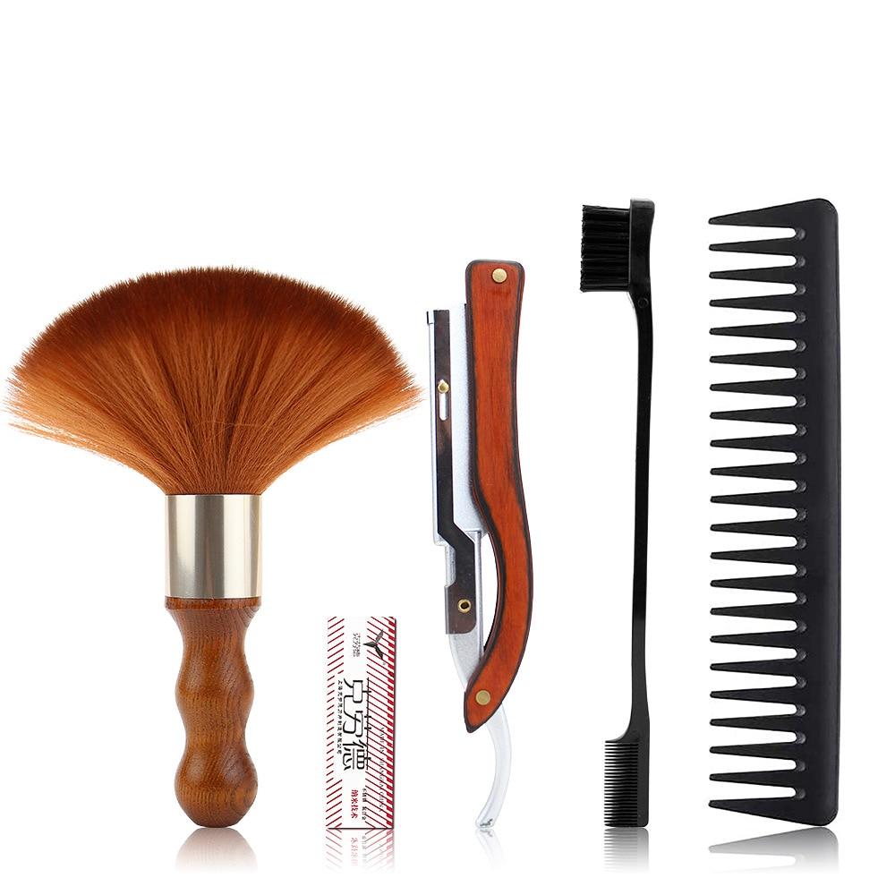 Retro Vintage Razor Set Men's Sharp Razor Barber Shop Shaved Head Shaving Knife Include Comb Brush Blade Gift