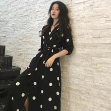 Women's Casual Spring and Summer Dress Women's Korean Retro Printed Chiffon Shirt V-neck Wave Point