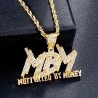 fashion hip hop cubic zircon mbm letter pendant necklaces for men jewelry gift
