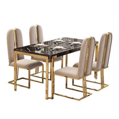 طاولة طعام مستطيلة من الرخام المعدني بتصميم عصري ، مثالية لغرفة الطعام أو حفلات الزفاف