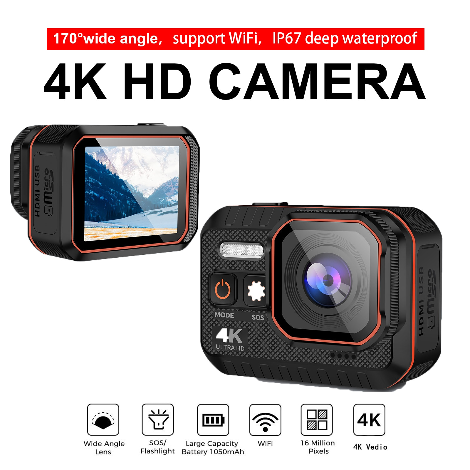 Ultra 4K Action Camera 4K With Remote Control Screen Waterproof Sport Camera Helmet Gopro Hero Camer