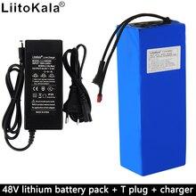Liitokala, batería de litio de bicicleta eléctrica, paquete de 48V, 15Ah, BMS incorporado, alta potencia 1000W, descarga, enchufe y cargador en T