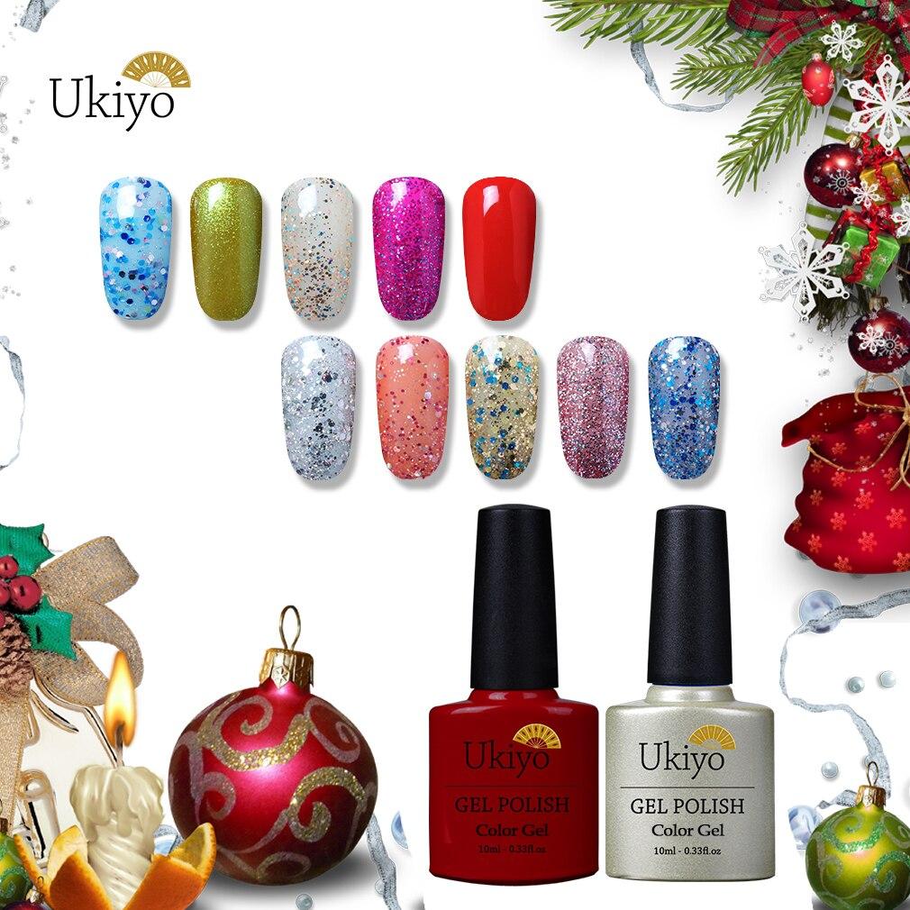 Ukiyo 10ml Navidad Sreies UV Gel polaco brillo barniz híbrido esmalte de uñas semi permanente UV esmalte de Arte de uñas laca