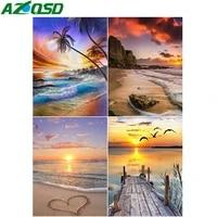AZQSD peinture a la main par numeros coucher de soleil dessin sur toile decoration de la maison decadrer photos par numeros paysage fait main cadeau