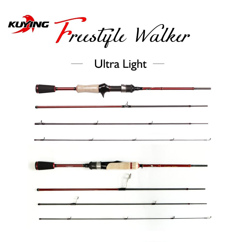 KUYING FREESTYLE COMBO Lure Fishing Rod Fish Casting Spinning UL M H L Hard Ultra Light Medium 4 sections Mini Pocket Travel enlarge