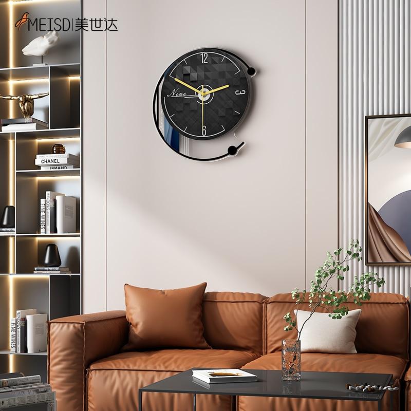 Винтажные часы настенные MEISD, круглые современные дизайнерские часы, домашний декор, черные часы, украшение для гостиной, бесплатная достав...