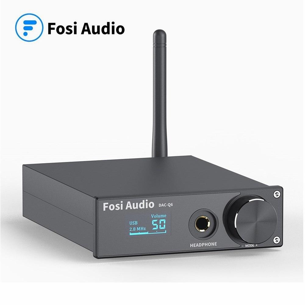 Fosi áudio q6 usb dac dsd256 pcm 32bit/384khz xmos xu208, amplificador de auscultadores bluetooth 5.0 aptx hd csr8675 ess9018k2m áudio