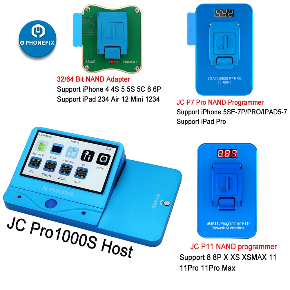 JC Pro1000S JC P7 Pro JC P11 NAND Programmer HDD Serial Read Write Error Repair For iPhone 11 XR XS