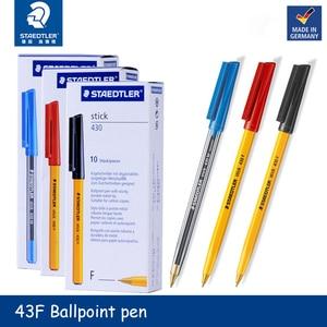 Germany Staedtler Stick 430F 0.5mm 10pcs/lot Ballpoint Pen Red/Blue/Black Statonery School & Office Supplies