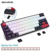 skyloong ak68s wireless bluetooth mechanical keyboard hot swap pc gamer pbt keycaps gaming keyboard better for mac laptop tablet