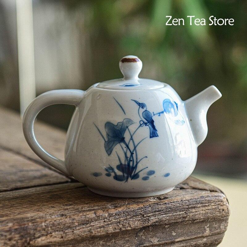 رسمت باليد لوتس الطيور إبريق شاي من السيراميك اليدوية المنزلية بسيطة كبيرة تصفية حفرة وعاء واحد الكونغ فو طقم شاي إبريق الشاي العتيقة