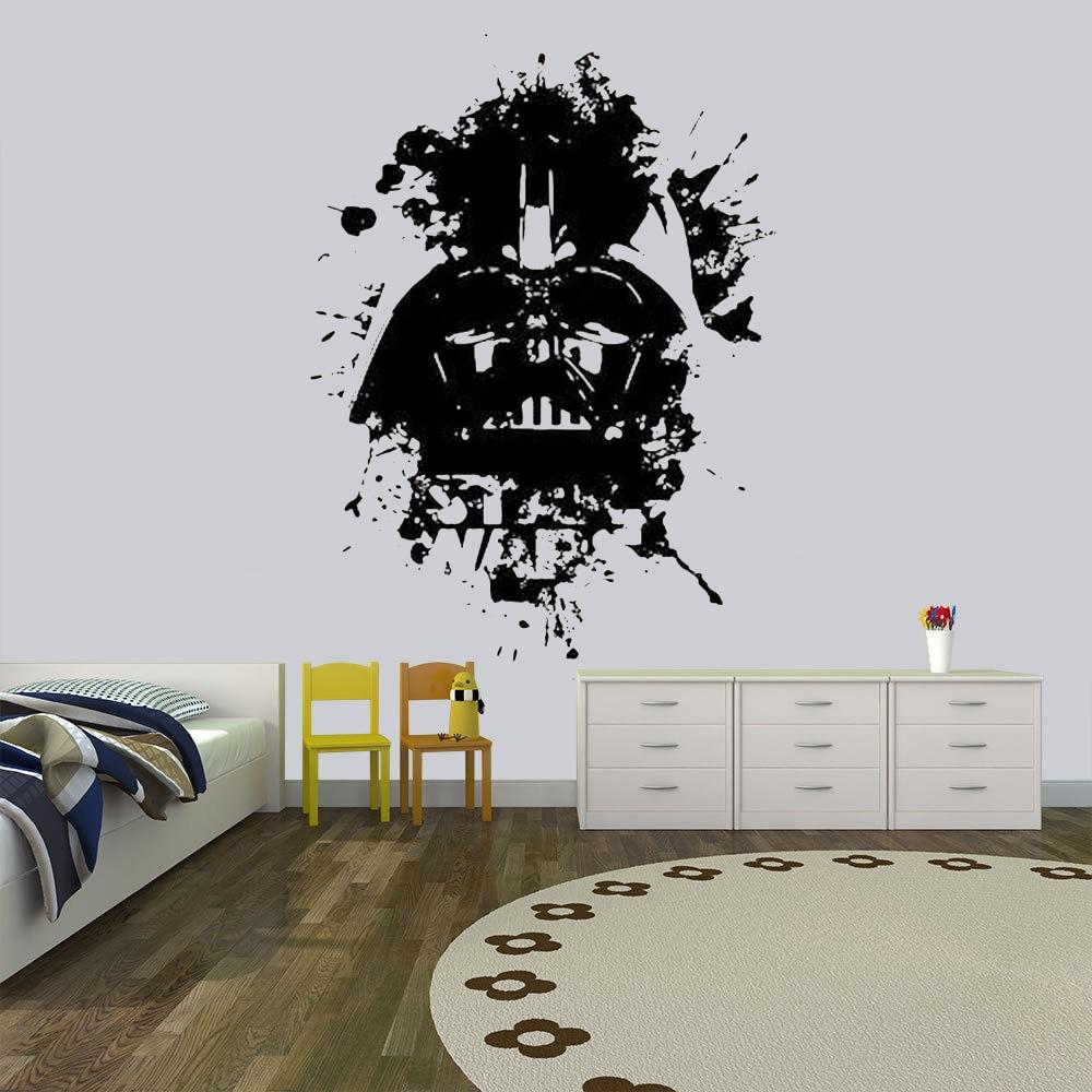 Darth Vader pegatina de pared de Star Wars Para Niños, decoración de habitaciones, muro estelar Jedi, pegatina de vinilo impermeable para pared, decoración HQ171