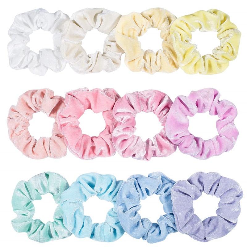 Wholesale Women Winter Velvet Scrunchie Pack 12pcs/lot Bright Pastel Color Elastic Hair tie Rope Girl Hair Schrunchy Set 2021