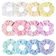 12 видов цветов, оптовая продажа, женские зимние Бархатные резинки, 12 шт./лот, яркие цвета, набор для волос, 2020, новый год