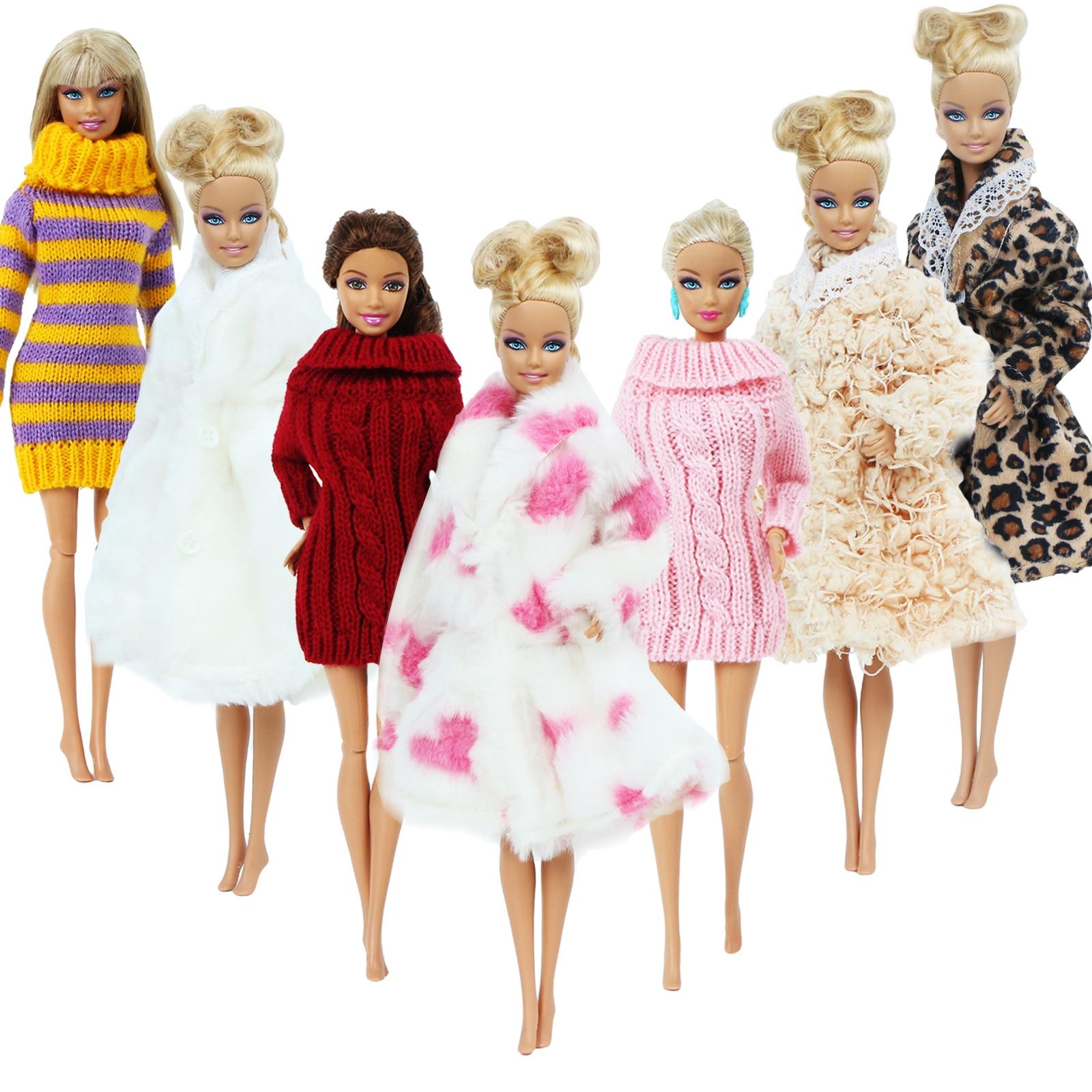 1 Conjunto de ropa de invierno de punto de cuello de tortuga bata peluda para muñeca Barbie de juguete de 12 pulgadas. Accesorios lote traje de color